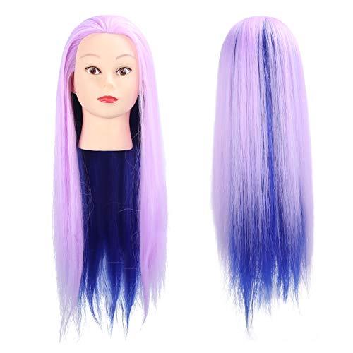 Prácticos accesorios de entrenamiento de peluquería Cabeza de muñeca de peluquero, Cabeza de maniquí para trenzar, para instituciones de entrenamiento para peluquero(Light purple)
