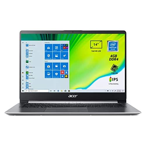 Acer Swift 1 SF114-32-P56T Pc Portatile, Notebook con Processore Intel Pentium Silver N5000, Ram 4 GB DDR4, 128 GB SSD, Display 14