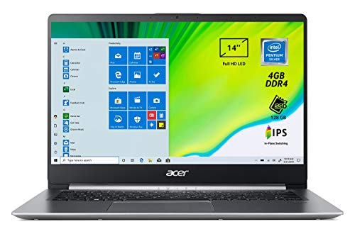 Acer Swift 1 SF114-32-P56T Pc Portatile, Notebook con Processore Intel Pentium Silver N5000, Ram 4 GB DDR4, 128 GB SSD, Display 14' FHD IPS LED LCD, Intel UHD 605, Windows 10 Home in S mode, Silver
