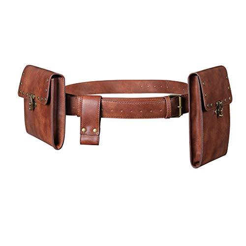 PTMD Creativo vintage cinturón de cuero cartera hombres cintura paquete steampunk doble...