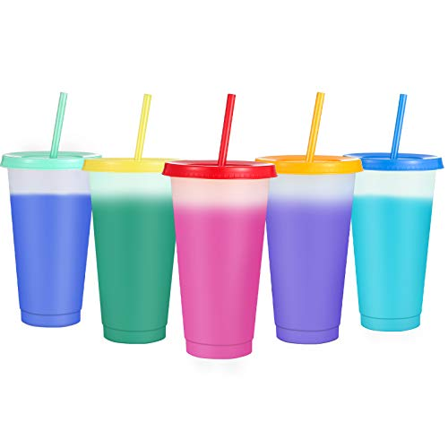 Sursip 24 oz Color Changing Reusable Cup,Sursip 5 Pack With Lid/Straws, Summer Coffee Tumblers Party Cup for Adults