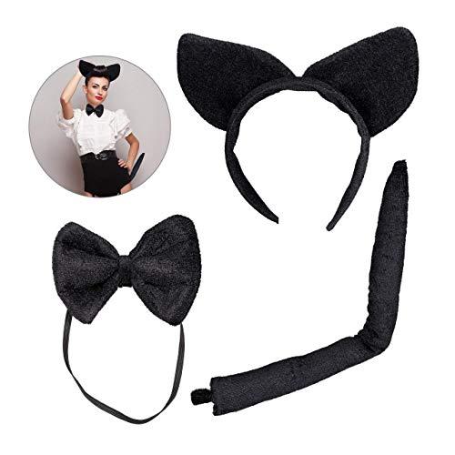 Relaxdays, noir Chat en lot de 3, Serre-tête à oreilles en peluche, Noeud-papillon, Accessoire de costume, Adulte unisexe, 10027959, éléments