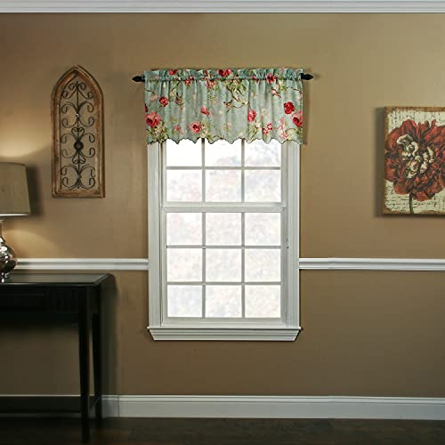 Balmoral Floral Print Semi Sheer Valance Curtain 48-Inch-by-15-Inch - Sage / Wine