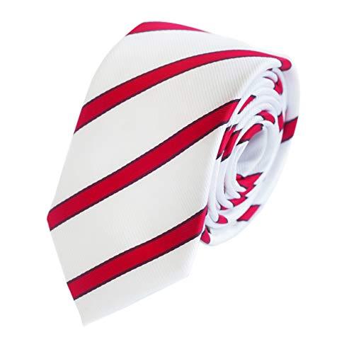 Fabio Farini - Corbata de hombre elegantemente a rayas para la boda, confirmación, bola en 6 u 8 cm para elegir blanco con amplia señal roja y finas rayas rojas burdeos Clásico (8cm)