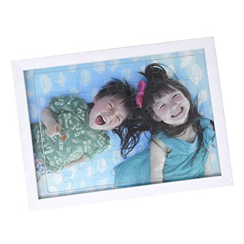 MRG 写真 パズル オリジナル アクリル オーダーメイド ジグソーパズル UVプリント 2L判 35ピース 子供 記念 思い出 (フレームセット(ホワイト))