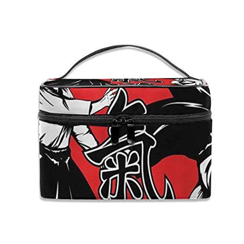 Make-up Taschen Etuis,Kosmetiktaschen Crossed Samurai Hieroglyphs Travel Makeup Bag Cosmetic Cases Organizer Portable Storage Bag for Cosmetics Makeup Brushes Toiletry Travel Accessories Travel Daily