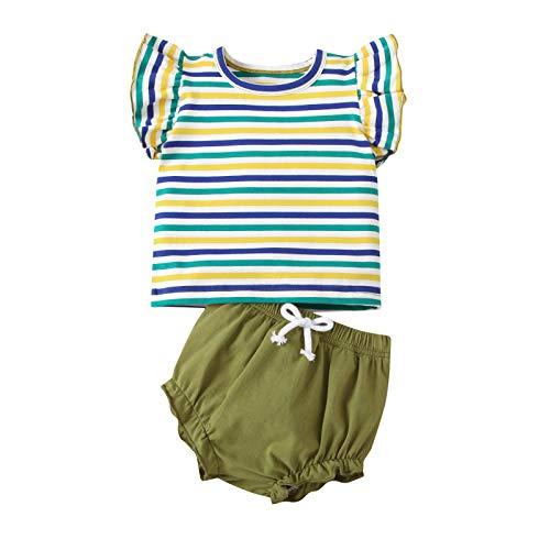 Yissone Conjunto de Ropa para Bebé Niña Camisa a Rayas con Volantes Pantalones Cortos Traje de Moda Linda Verde Militar Trajes con Volantes para 6-24 M Ropa Diaria Infantil