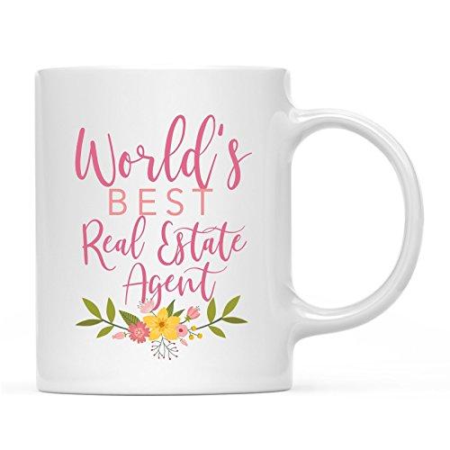 Andaz Press 11oz. Coffee Mug Gag Gift, World's Best Real Estate Agent, Floral Design, 1-Pack