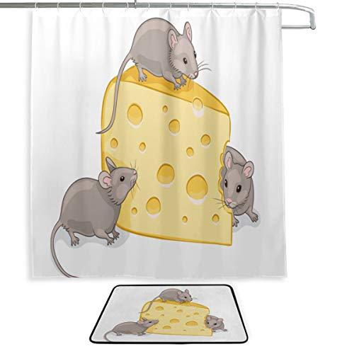 Badezimmer dekorative Gardinen Ratte Essen Käse Maus Cartoon Duschvorhänge für Jungen Badteppich & Duschvorhang 2 Set mit 12 Haken für Master-Badezimmer, Kinderbad, Gästebad