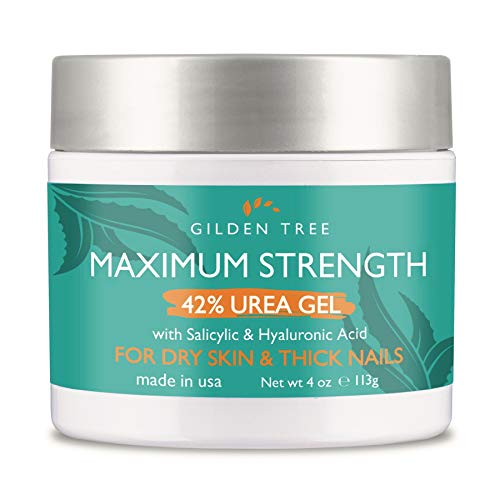 Maximum Strength 42% Urea Gel with Salicylic & Hyaluronic Acid - Exfoliates Dry, Rough Dead Skin on Heels Feet Elbows Knees + Softens Thick Painful Nails, Helps Rid Toenail Fungus
