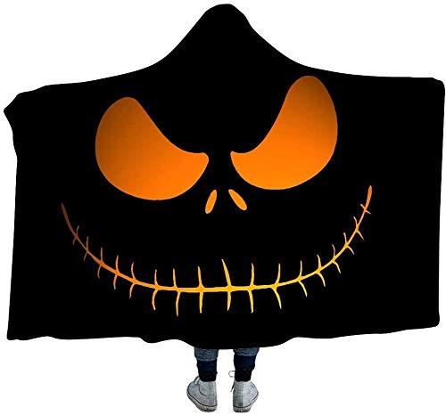 JSDKLO Manta con Capucha de Halloween, Manta Impresa Digital en 3D, Manta Doble Espesada, Dormitorio, Oficina, Manta para la Siesta, atmósfera Suave y cálida, B, 130 * 150 cm