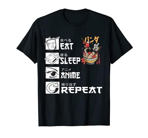 Eat Sleep Anime Repeat Dog Eats Sushi Japanese Kawaii Ramen T-Shirt