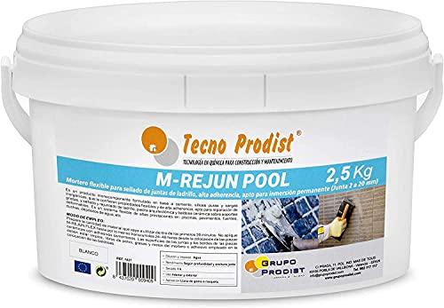 M-REJUN POOL de Tecno Prodist - (2,5 kg) Mortero flexible para sellado de juntas de baldosas y gresite en piscinas, ceramica, ladrillo, etc, para inmersión permanente (Junta 2 a 20 mm) Color Blanco