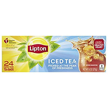 Lipton Family-Size Iced Tea Bags Picked At The Peak of Freshness Unsweetened Tea Can Help Support a Healthy Heart 6 oz 24 Count