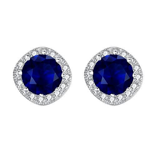EVER FAITH® 925 Sterling Silver Cubic Zirconia Elegante Cojín Corte Halo Stud Pendientes Azul zafiro Color N07383-2
