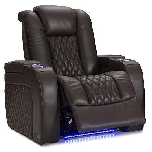 Seatcraft Diamante - Home Theater Seating - Power Recline - Top Grain Leather - Powered Headrests - Cupholders - USB Charging - Ambient Lighting - Arm Storage, Single Recliner, Brown