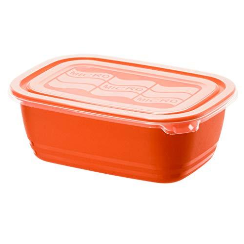 Rotho Eco Mikrowellendose 1l mit Deckel, Kunststoff (PP) BPA-frei, rot/transparent, 1l (19,3 x 13,6 x 7,3 cm)
