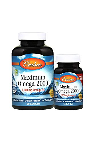 Price comparison product image Carlson - Maximum Omega 2000,  2000 mg Omega-3 Fatty Acids Including EPA and DHA,  Wild-Caught,  Norwegian Fish Oil Supplement,  Sustainably Sourced Fish Oil Capsules,  Lemon,  90+30 Softgels
