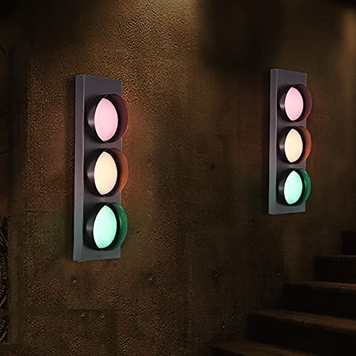 QDF Retro Industrial Wall Lamp LED Traffic Light, 3 Color Green/Yellow/Red, for Cafe Bar Club Shop Warning Decoration(2 pcs)