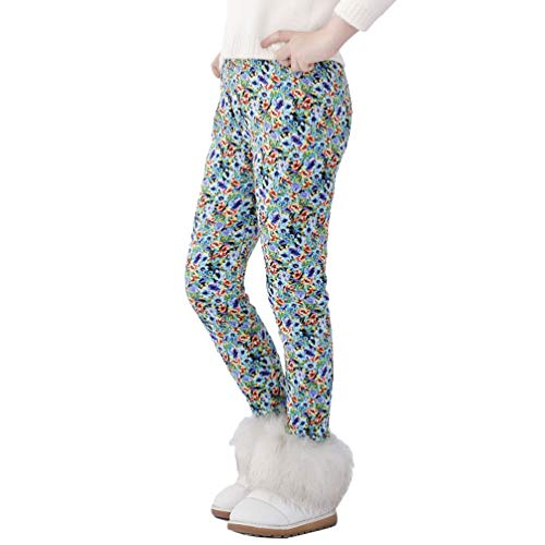 Yiqi Pantalones Leggings Niñas Uniforme Escolar Tejer Tramo Leggings para Niñas Linda Pantalones hasta El Tobillo Estampado Pantalón Elásticos Coloridas de Arco Iris para Niñas (Estilo#16, 130)