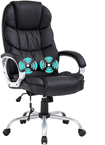 Ergonomic Adjustable Home Office Chair,High Back Massage Heated Desk Task Chair,250Lbs Heavy PU Leather Computer Chairs,Executive Rolling Swivel Chair w/Lumbar Support Headrest Armrest for Adults
