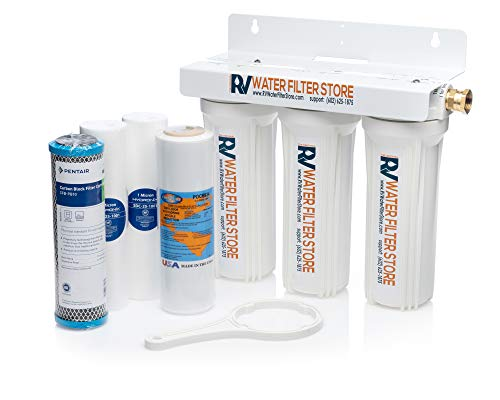 RV Water Filter Store Essential System Water Filtration + Anti-Scale Filter for Advanced Premium Drinking Water, 3 Stage