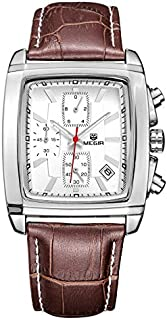 Megir Mens Quartz Watch, Chronograph Display and Leather Strap - 2028G