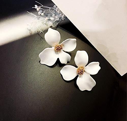FEARRIN Pendientes Colgantes Flor Multicolor Pendientes Temperamento Simple Dama Aleación Pendientes para Mujer Ohrringe Blanco