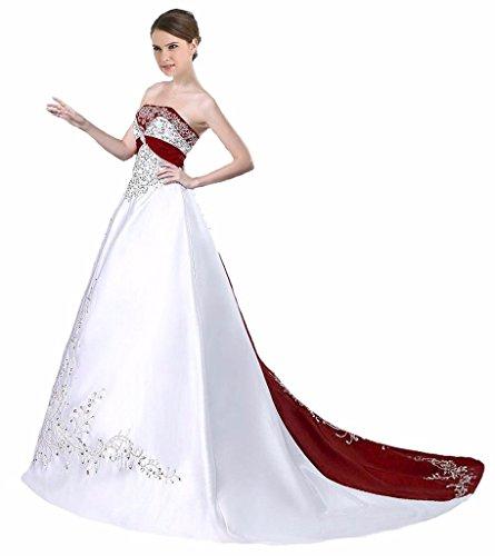 Edaier Frauen Perlen Stickerei Gericht Zug Satin Brautkleid Größe 54 Weiß Rouge