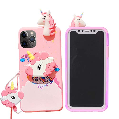 """Unicorn Case for iPhone 12 Pro Max 6.7"""" with String Rope,3D Cartoon Design Cute Elastic Kickstand Protective Case, iPhone 12 Pro Max Case Kawaii Fashion for Kids Child Teens Girls Women (Pink)"""