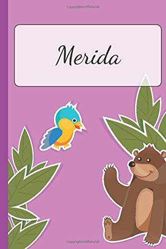 Merida: Personalized Name Notebook for Girls | Custemized 110 Dot Grid Pages | Custom Journal as a Gift for your Daughter or Wife |School or Christmas or Birthday Present | Cute Diary