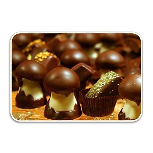 1Zlr2a0IG Zerbini in Gomma antiscivolo con Suola in Gomma antiscivolo FnLiu Chocolate Delicious Funghi 23,6 x 15,7 pollici (40x60 cm)