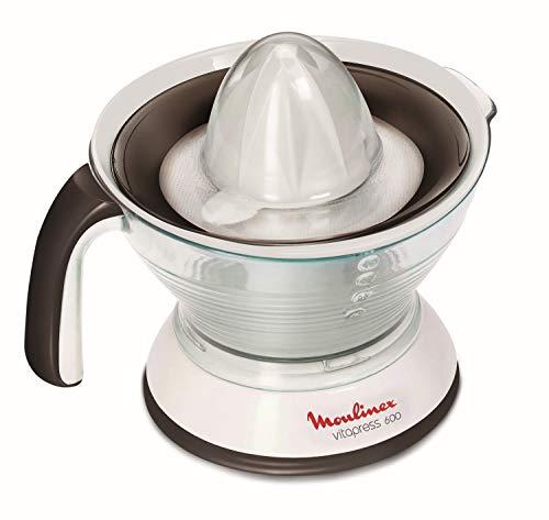 Moulinex PC300B Exprimidor eléctrico con doble, filtro regulador de pulpa, jarra transparente desmontable de 0.6 L, cono desmontables, apto para lavavajillas, 25 W