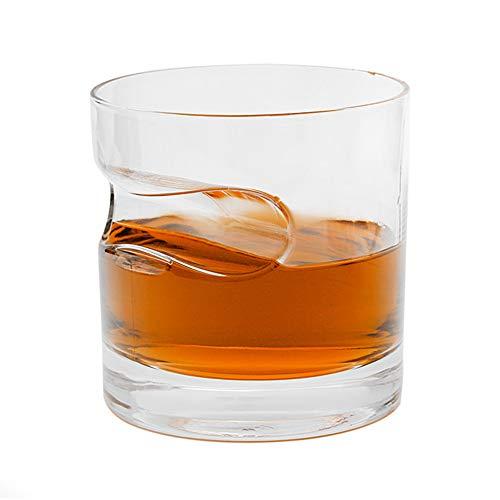 JAYLONG Whiskey-Glas mit Zigarrenhalter, 2 Pcs 300ml handgefertigter Square/Round Beer Scotch Brandy Red Wine Cups, für Cigar Cigarette Lovers, Home and Bar,Round