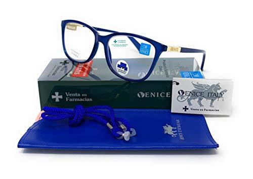 New model 2021 Gafas de lectura con filtro bloqueo de luz azul para gaming, ordenador, móvil. Anti fatiga, presbicia, vista cansada, Mujer Diseño en Colores. VENICE Smart (Azul, 2,00)