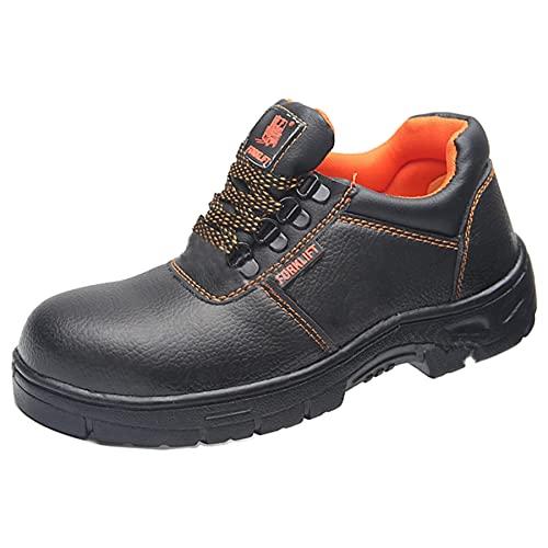 [モデルノ ラ テール] 靴 ロー カット 釘 踏み抜き 防止 安全靴 作業靴 鉄板 ブラック レースアップ メンズ ML-AGL サイドゴア ブーツ (ブラック×オレンジ 27cm 44BKOR