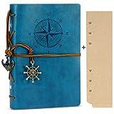 Rymall Kunstleder-Tagebuch+A6 Refill Papier/160 Seiten, Notizbuch, nachfüllbar, Spiralbindung, klassisch, geprägt, Reise-Tagebuch, mit Blanko-Seiten und Retro-Anhängern,Blau
