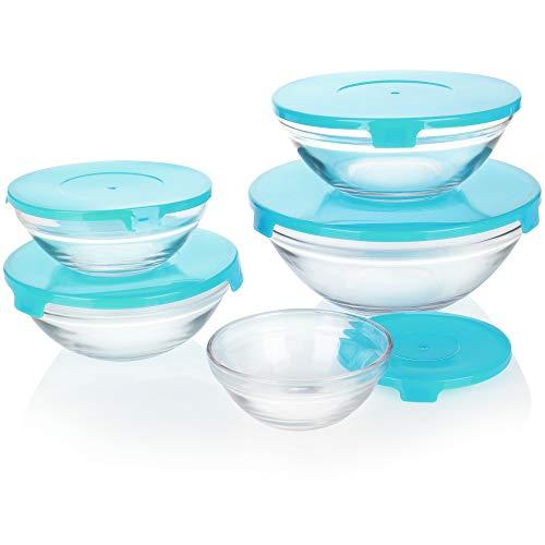 com-four® 5-teiliges Glasschüssel Set mit Deckel - Glasschalen mit Deckel in 5 Größen - Salatschüssel aus Glas mit Deckel zur Aufbewahrung (blau)
