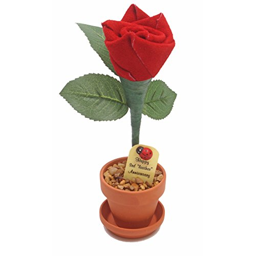 3rd Year Wedding Anniversary Gift, Potted Leather Desk Rose, Perfect Present for...