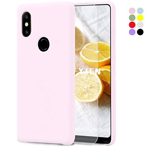 Feyten Funda para Xiaomi Mi Mix 2S [Cristal Vidrio Templado],Slim Líquido de Silicona Gel Carcasa Anti-Rasguño Protectora Caso (Rosa Claro)