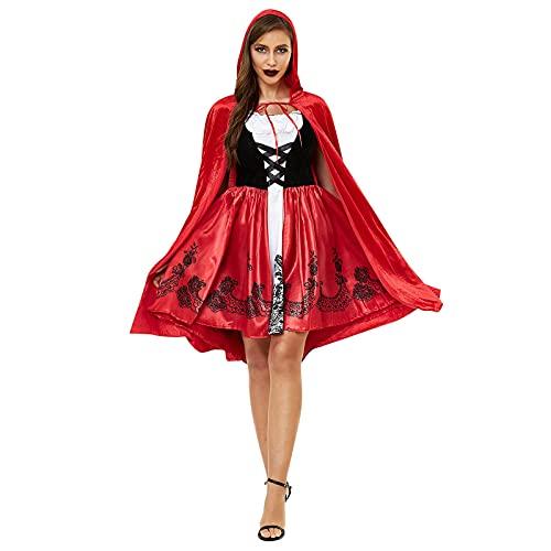 eiuEQIU Damen Rotkäppchen Kostüm Anzug Halloween Fasching Ärmellos Minikleid mit Rot Midilang Umhänge Kapuze Frauen Halloween Karneval Verkleidung Sexy Cosplay Kleid für Erwachsene
