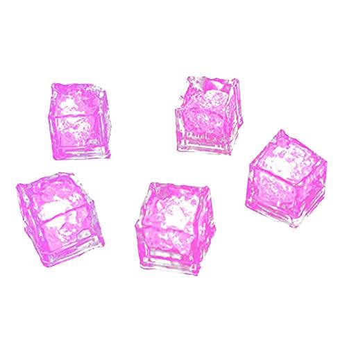 Glaçon Lumineux LED Lumineuse Ice Cube Couleur Glaçons à LED avec fonction d'induction liquide pour Champagne Tour, Fête, Mariage, Club et Barre, Noël, Halloween (Rose, 1)