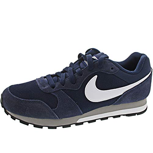 Nike MD Runner 2, Zapatillas Hombre, Azul (Midnight Navy/White/Wolf Grey), 44.5 EU
