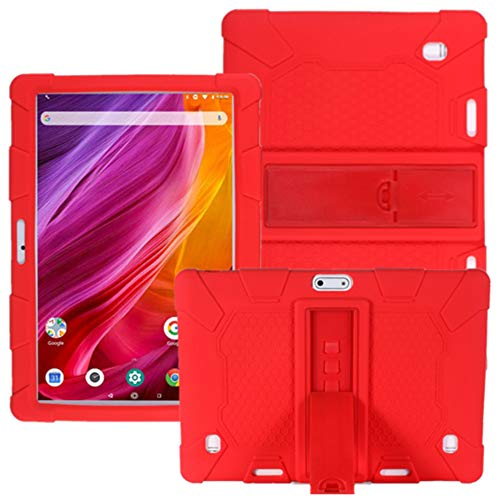 HminSen Case for Dragon Touch Notepad K10 / Max10 Tablet, Silicone Adjustable Stand Cover Compatible Dragon Touch K10, Victbing 10, ZONKO 10.1,Hoozo 10, Winsing 10, Lectrus 10.1 Android Tablet (Red)