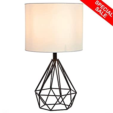 SOTTAE Black Hollowed Out Base Livingroom Bedroom Bedside Table Lamp,Desk Lamp With White Fabric Shade