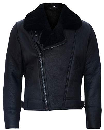Infinity Leather Chaqueta de Cuero Negro de Piel de Oveja con Cremallera Cruzada de Aviador para Hombre
