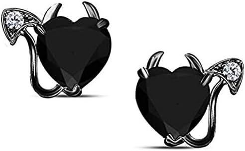 Lovely 6MM Heart Shaped CZ Diamond Popularity White Max 78% OFF Black Devil S