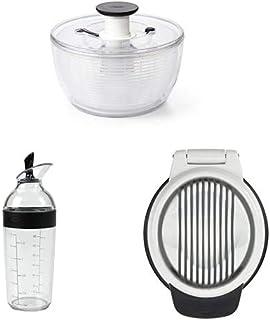 OXO Good Grips 1351580V2MLNYK Essoreuse à Salade Transparent/Blanc, Plastique, Grand Good Grips Shaker à Vinaigrette Good ...