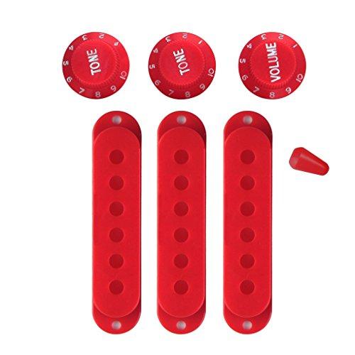 FLEOR 3PCS 52mm Juego de fundas de pastilla de bobina simple con perillas de control 2T1V y punta de interruptor selector de 5 vías para guitarra Stratocaster, rojo