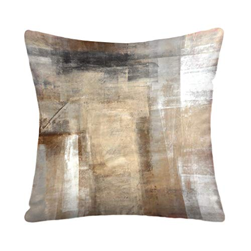 YUANYONG 45 X 45 cm Throw Pillow Covers, Brown and Beige Abstract Art Painting Square Double-Sided Cushion Cover 18 x 18 Inches Decorative Home Bed Gift,Brown and Beige
